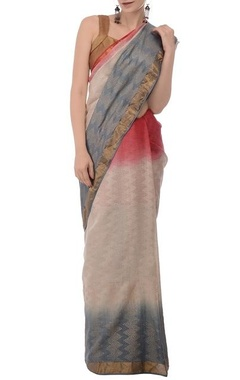 Ecru & pale blue tussar silk sari