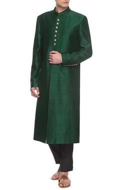 emerald green sherwani set