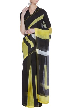 Vedika M Geometric hand painted sari with unstitched blouse