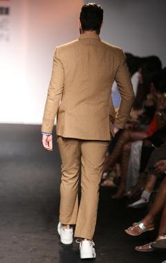 brown polka dot suit jacket