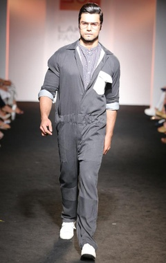 black boiler suit with white patch pocket