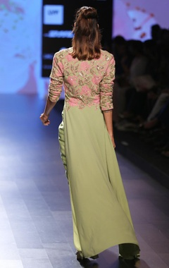 Olive green & pink embroidered tunic jacket with wrap skirt