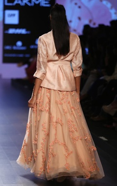 Pale pink jacket with floral embroidered lehenga