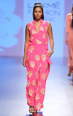 Fuschia floral embellished wrap jumpsuit
