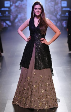 Dark brown cape blouse with embroidered lehenga