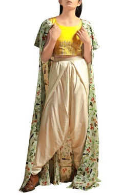 sunflower yellow crop top with dhoti pants & jacket