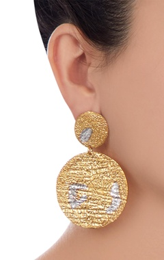 Gold & silver mismatch abstract drop earrings