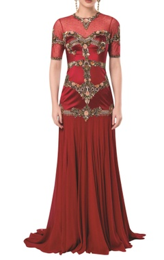 Embroidered waist gown