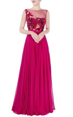 Red sequin embellished gown
