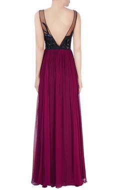 black & purple sequin embellished gown