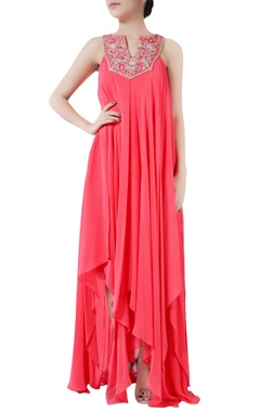Coral pink georgette asymmetric embroidered dress
