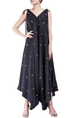 Black crepe silk dhoti style bugle bead jumpsuit