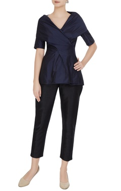 Gauri & Nainika Navy blue taffeta wrap & tie-up blouse