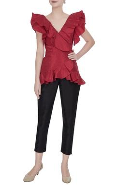 Gauri & Nainika Red taffeta overlapping frill wrap blouse