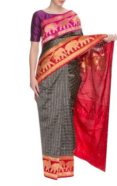 Grey handwoven sari with elephant motifs