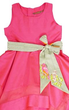 fuschia dress with a belt