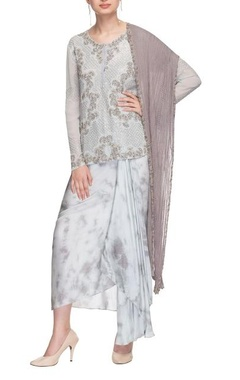 Ice blue embellished kurta with draped skirt & dupatta