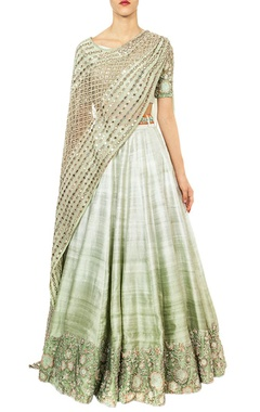 mint ombre & mirror work embroidered lehenga set