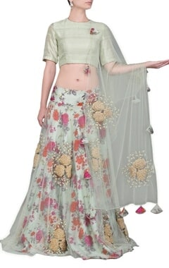 pale green floral printed lehenga set