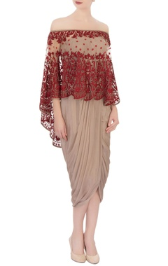 taupe draped dress & resham work cape