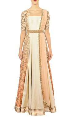 off white & peach shaded anarkali set
