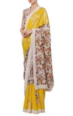 Nikasha Crepe silk sequin & floral hand painted sari set
