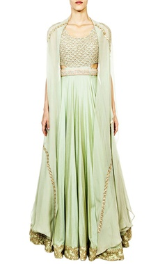 Mint embroidered cape anarkali with belt