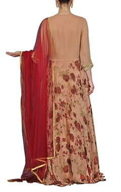 rose gold & maroon printed anarkali set
