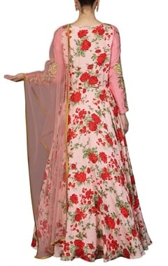 pale pink and red rose printed anarkali set