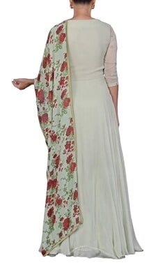 pale green floral embroidered anarkali set