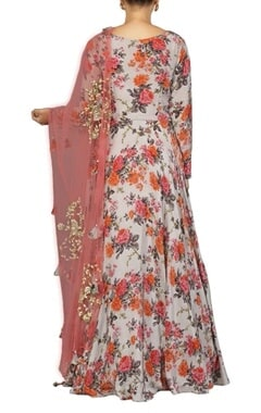 pale grey floral printed anarkali set