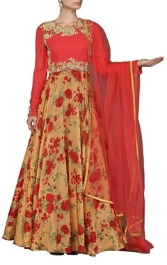 deep pink and beige rose printed anarkali set
