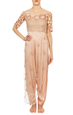 Peach off shoulder embroidered pleated jumpsuit