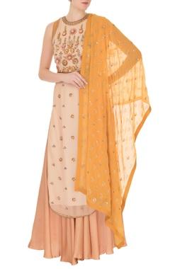 Beige georgette tunic with palazzos & dupatta