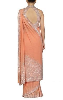 Peach sequin embellished sari