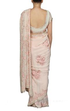 Dusky pink floral pearl embellished sari