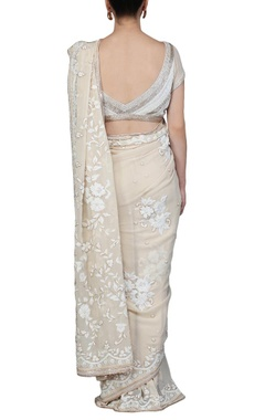Pale beige floral pearl embellished sari