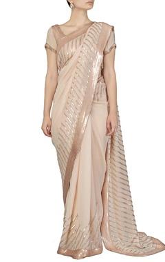 Pale pink sequin embellished sari
