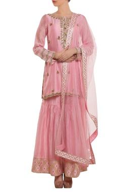 rose pink embroidered kurta set