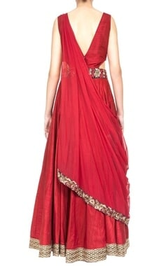 Maroon embroidered anarkali with attached dupatta