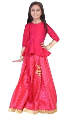 fuschia dupion, banarasi silk & artificial silk peplum sharara set