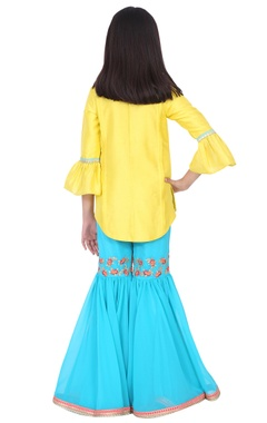 yellow & turquoise silk thread and gota embroidery sharara set