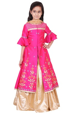Fuschia & gold taffeta, cotton lurex & artificial silk embroidered lehenga set