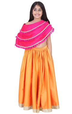 fuschia & orange taffeta & banarasi silk frilled lehenga set