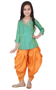 green & orange tafetta, banarasi silk & artificial silk gota patti kurta with salwar pants