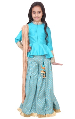 turquoise dupion, banarasi silk & artificial silk peplum sharara set