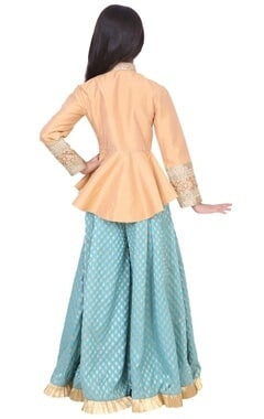 gold & turquoise dupion, banarasi silk & artificial silk peplum sharara set