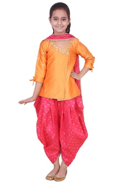 Orange & fuschia tafetta, banarasi silk & artificial silk gota patti kurta with salwar pants