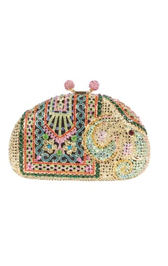 Multi colored elephant rhinestone clutch