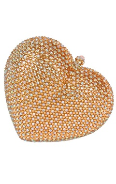 Gold heart rhinestone clutch